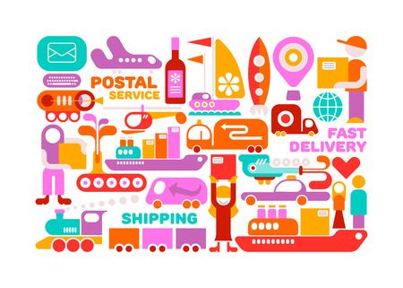 quickly: Shipping Service vector illustration isolated on a white background. Illustration