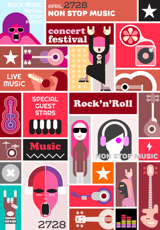 Rock Concert Poster Template Music Festival Vector Collage Royalty