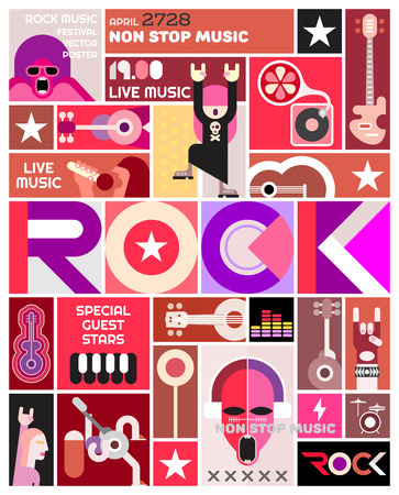 piano roll: Rock concert poster vector template design. Art collage of many different pictures and text composition.
