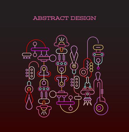 Neon kleuren op een donkere achtergrond Abstract ontwerp vector illustratie.