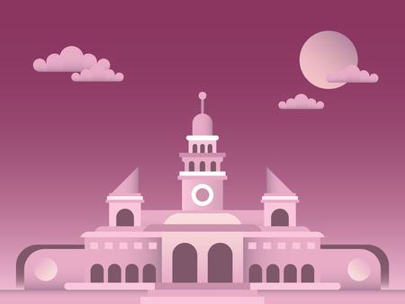 Palace vector illustration. Retro style architecture.