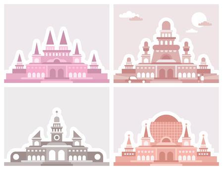 Four different palaces. Retro style architecture. Vetores