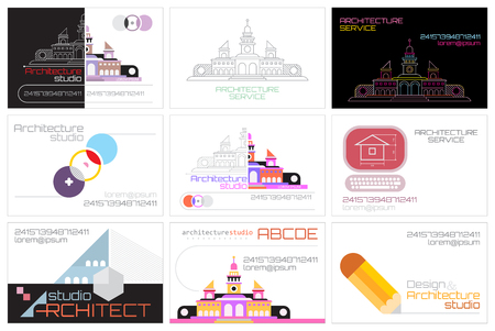 Set of nine Architecture Studio business card template designs, size 85 × 55 mm.