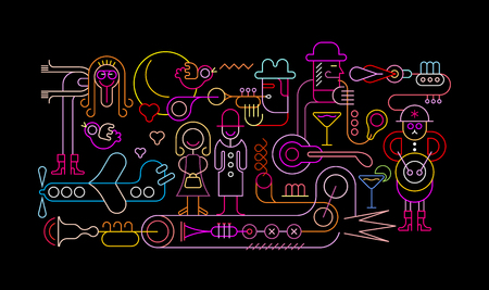 Neon colors on a black background Music Festival vector illustration.