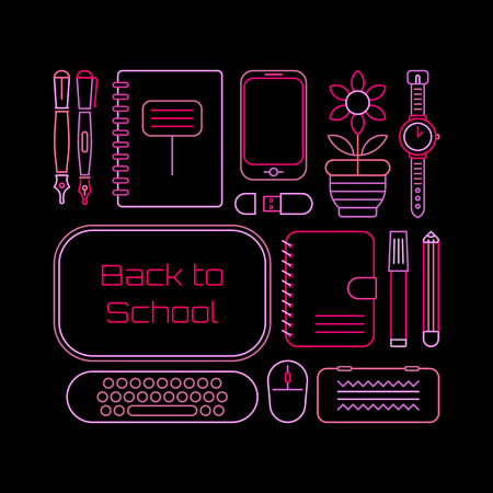 case: Neon colors on a black background Back to School vector illustration. Design of many various school supplies.