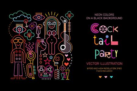 grabadora: Colores vibrantes sobre un fondo negro Diseño de plantilla de cartel de vector de cóctel.