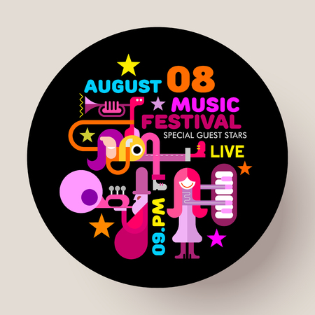 Bright colors on a black background Music Festival vector template design. People playing musical instruments. Round shape illustration.