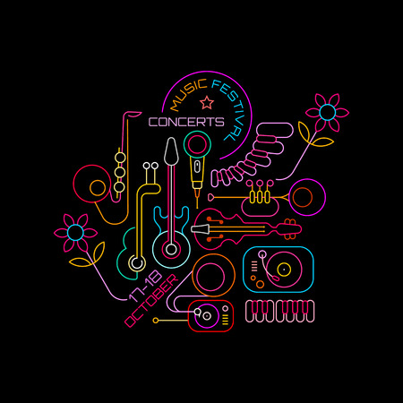 Neon colors on a black background Music Festival Concerts vector illustration. Line art poster design template with musical instruments, DJ turntable, gramophone and place for text.