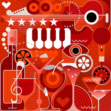 Muziekfestival, Concert en Cocktail Party vectorillustratie. Kunstwerk met verschillende muziekinstrumenten, cocktails en abstracte vormen.