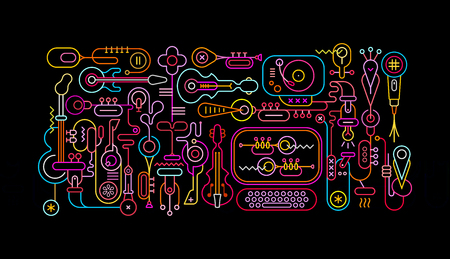 Music Shop abstract art vector illustration. Neon colors silhouettes isolated on a black background.