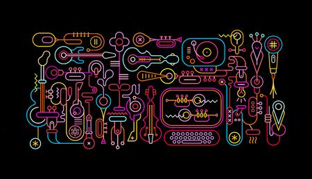 Musik-Shop-abstrakte Kunst-Vektor-Illustration. Neon färbt die Schattenbilder, die auf einem schwarzen Hintergrund getrennt werden.