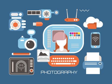 Photography and photo editing vector illustration. Set with professional photo equipment, computer, graphic tablet and printer, flat lay. Illustration