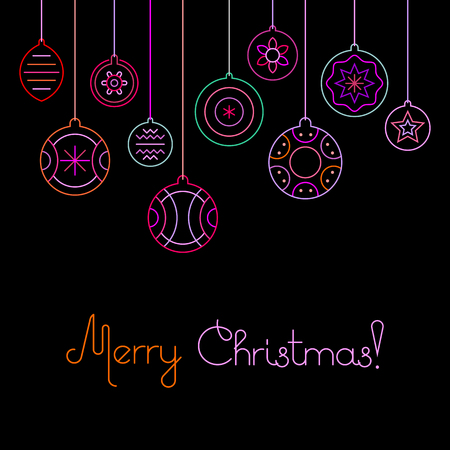Neon colors on a black background Merry Christmas vector illustration. Ten various Christmas decorations and Merry Christmas text. Invitation vector poster. Christmas balls.  Illustration