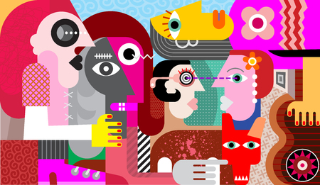 Group of strange people with dirty dog modern abstract fine art vector illustration.