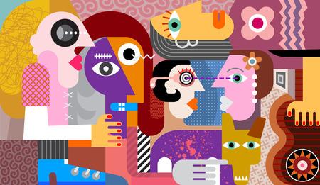 Groep van vijf mensen met de vuile vectorillustratie van de hond abstracte kunst. Vector Illustratie