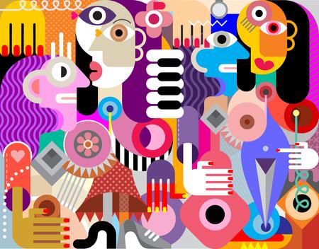 Abstract art flat style vector illustration of Four beautiful women.