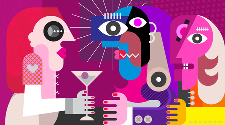 A woman with a cocktail. Three friends drinking cocktail at nightclub party. Modern abstract art vector illustration. Vettoriali
