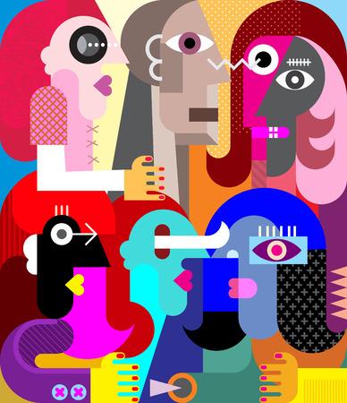 Six people vector illustration. Modern abstract fine art painting. Illustration