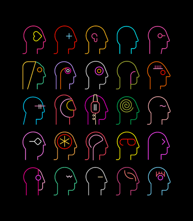 Neon colors on a black background Human Heads vector illustration. Illustration