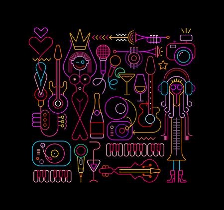 Colorful outline images on black illustration Illustration