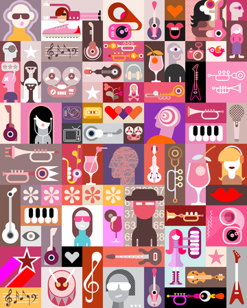 Music People vector illustration. Pop art collage with many different images.
