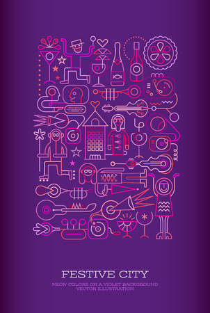 Neon colors on a dark violet background Festive city vector illustration. People took to the streets to celebrate, drink cocktails and have fun.