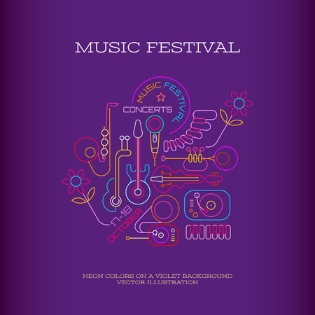 Neon colors on a dark violet background Music Festival banner design, Vector illustration. Line art with musical instruments, turntable, gramophone and place for text.