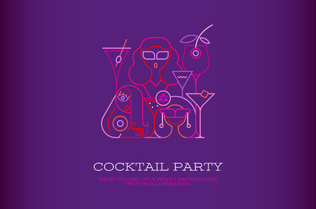 Three young beautiful women having a drink in a cocktail bar. Neon colors on a dark violet background Cocktail Party vector illustration.