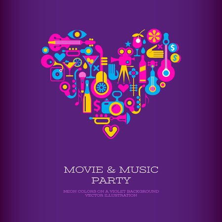 Vibrant colors on a dark violet background Movie & Music Party vector poster template. Heart shape design. Vettoriali