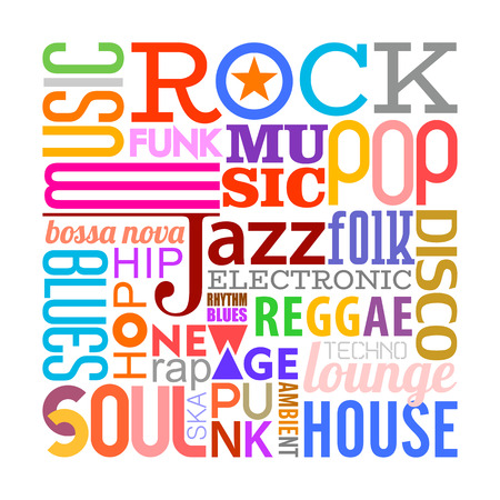Colorful text design composition with many different musical style names isolated on a white background Music styles vector illustration. Layers of the text background.