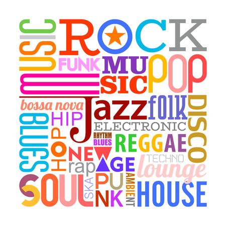 Composition de conception de texte coloré avec de nombreux noms de styles musicaux différents isolés sur fond blanc Styles de musique vector illustration. Couches de l'arrière-plan du texte. Vecteurs