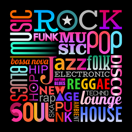 Text design composition isolated on a black background Music styles vector illustration. Layers of the text background.