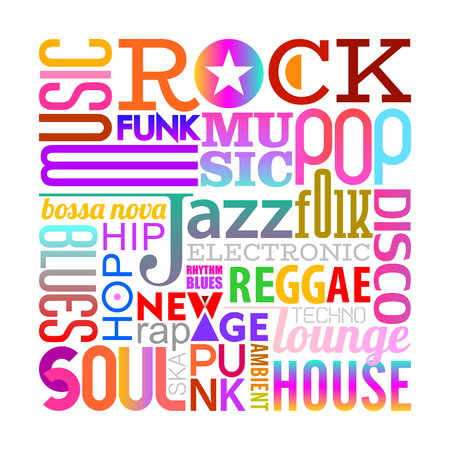 Colorful text design isolated on a white background Music styles vector illustration. Layers of the text background.