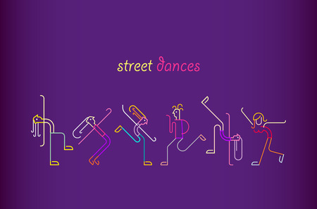 Neon colors on a dark violet background Street Dances vector illustration. Silhouettes of dancing people. Stock Illustratie