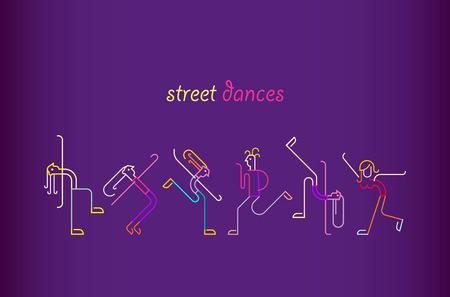 Colores de neón sobre un fondo violeta oscuro Street Dances ilustración vectorial. Siluetas de gente bailando.