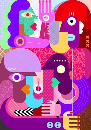 Modern abstract graphic artwork of four persons. Group of people vector illustration. Vecteurs