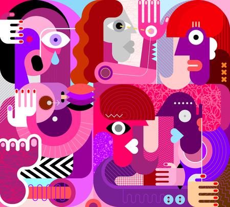 Gran grupo de personas ilustración vectorial. Pintura abstracta moderna de bellas artes. Mujer llorando con pechos.