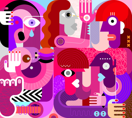 Large group of people vector illustration. Modern abstract fine art painting. Weeping woman with breasts.