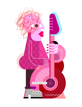 Colorful isolated on a white background Woman playing the guitar vector illustration. Çizim