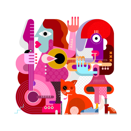 Two female musicians and one orange cat vector illustration isolated on a white background. One woman playing guitar, another woman playing trumpet, the cat rubs against the legs. Modern style painting. Иллюстрация