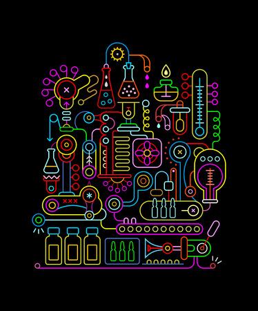 Colori al neon isolati su sfondo nero Illustrazione vettoriale del laboratorio di ricerca. Attrezzature di laboratorio medico.