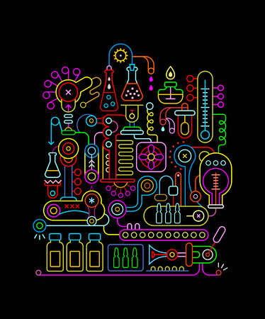 Neon colors isolated on a black background Research Laboratory vector illustration. Medical lab equipment.