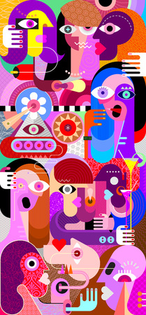 Large group of people abstract art vector illustration. Mixed vertical collage.