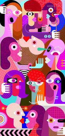 Large group of people abstract art vector illustration. Mixed vertical collage. Vecteurs