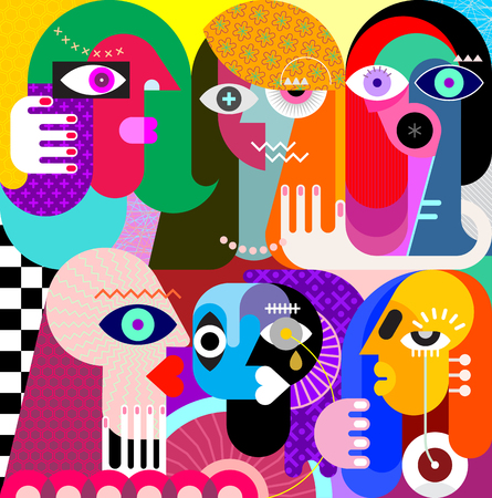 Five women and a man vector illustration. Modern abstract fine art painting.