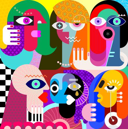 Vijf vrouwen en een man vectorillustratie. Moderne abstracte kunst schilderij.