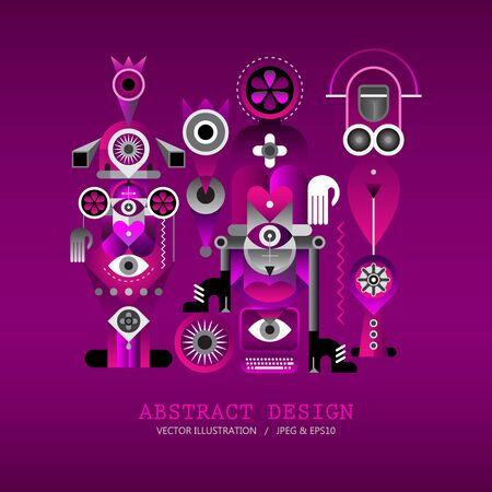 Modern abstract art design on a pink purple gradient background vector illustration.