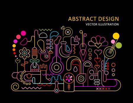 Neon colors on a black background Abstract Design vector illustration. Illustration