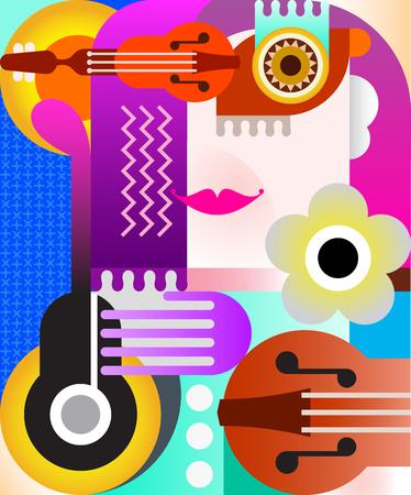 Portrait abstrait d'une illustration vectorielle de femme fine art.