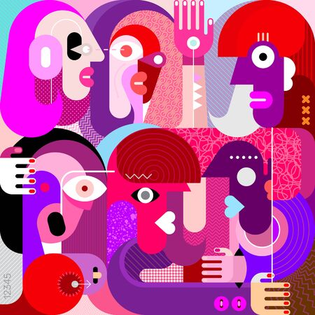 Illustration vectorielle de six personnes portrait. Art graphique de style moderne.